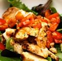 Chicken with Tomato and 'Saffron Olive Oil' Vinaigrette with Mixed Greens
